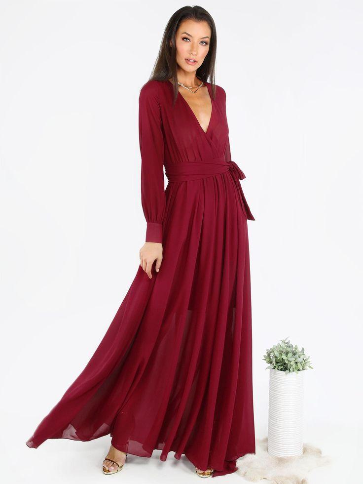#AdoreWe #MakeMeChic MAKEMECHIC Burgundy Surplice Front Self Tie Cuff Sleeve Dress - AdoreWe.com