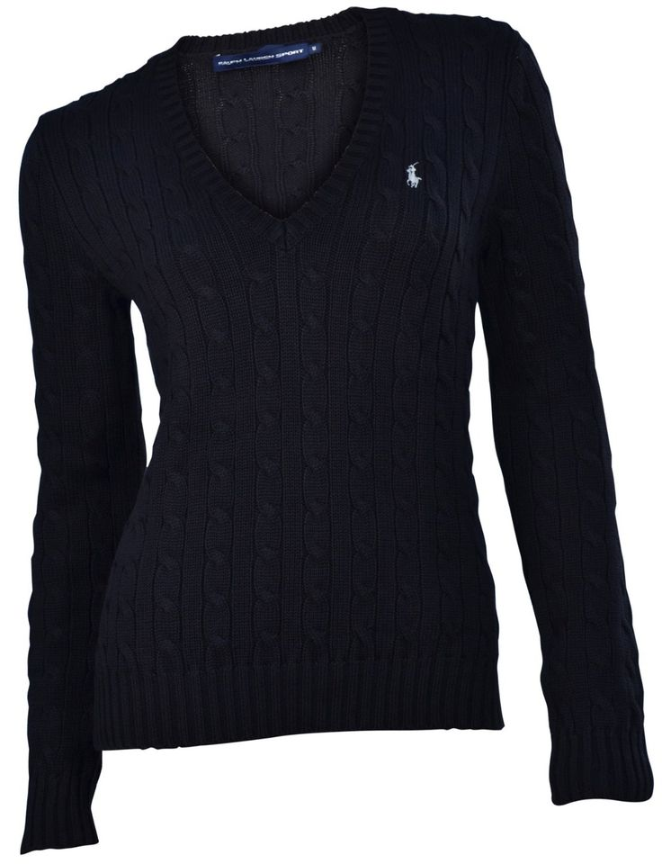 Polo Ralph Lauren Womens Cable Knit V Neck Black Sweater