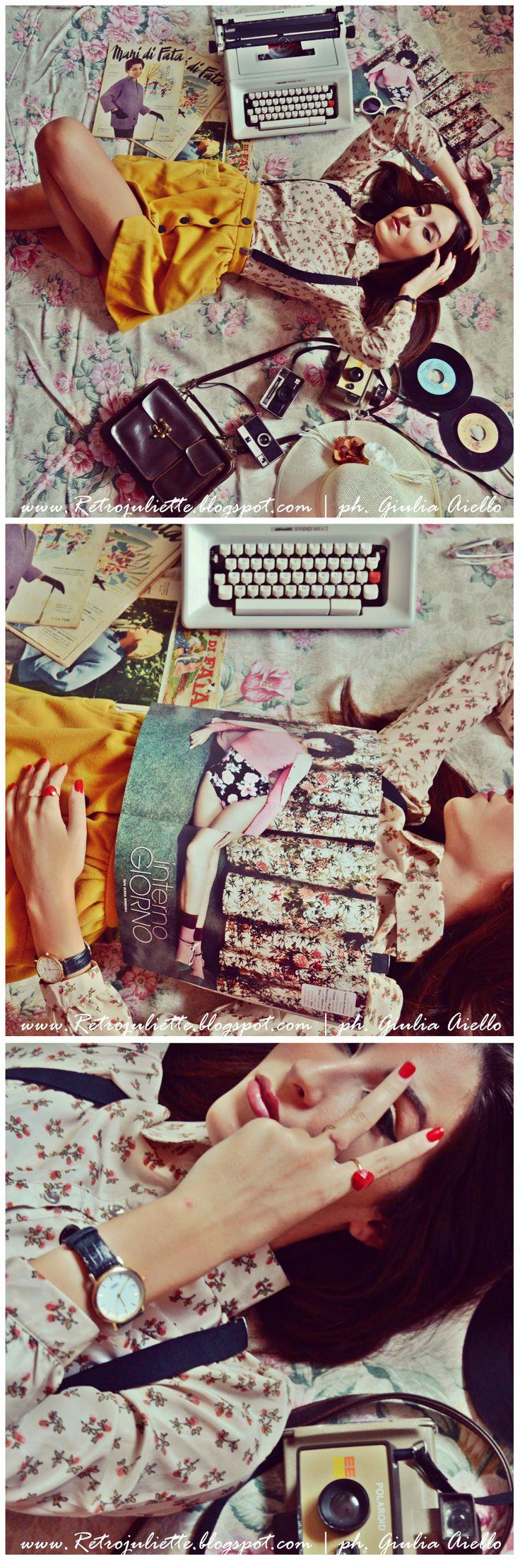 """www.Retrojuliette.blogspot.com La bellissima #Fashion #Blogger Giulia Aiello indossa #jewels #REDbold nel suo nuovissimo #outfit per l'autunno #2014! www.REDbold.etsy.com """"L'autunno ha già varcato le porte, ma le belle giornate tardano a lasciarci. Retro Juliette approfitta delle luci più tenui e i colori più pacati per mostrare un outfit #vintage dove a predominare sono il beige, il giallo canarino e il tema floreale!"""" FB Giulia Aiello ph. Giulia Aiello"""