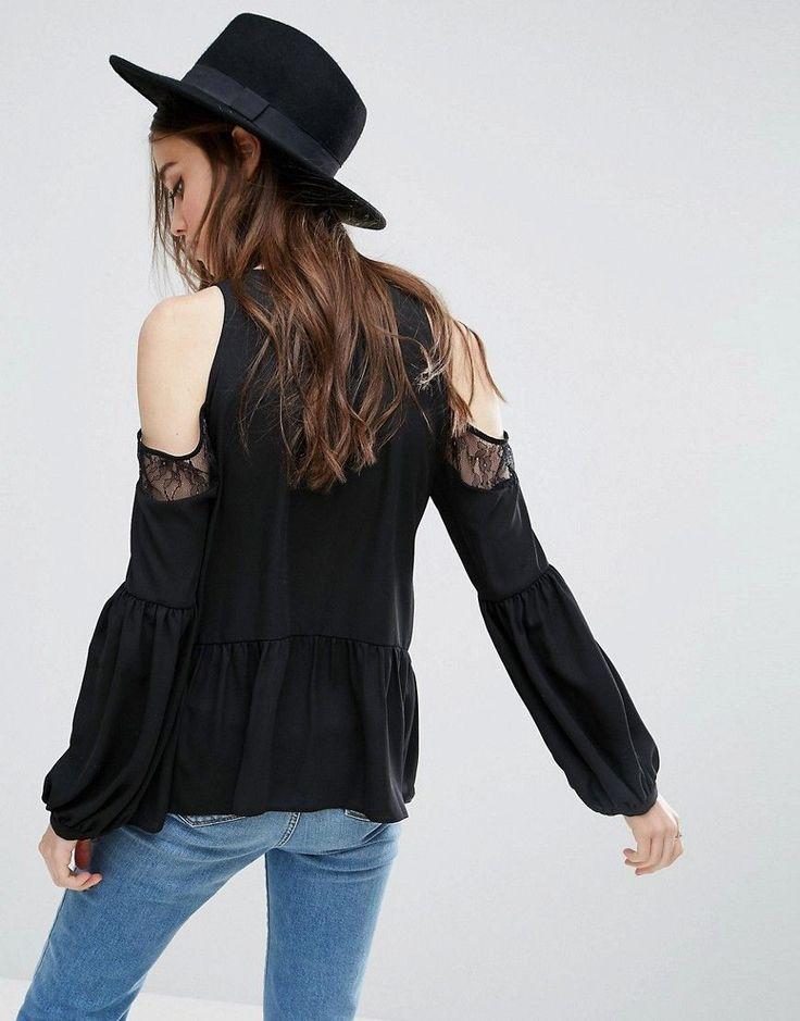ASOS Blouse with Lace Cold Shoulder - Black