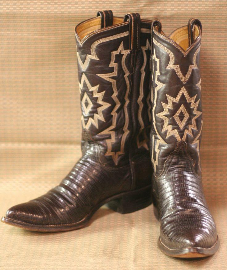 Vintage Tony Lama Fancy Stitched Brown Lizard Men's Western Cowboy Boots