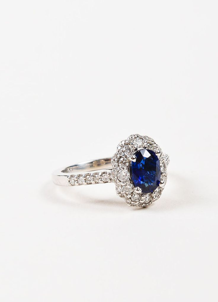 "14K White Gold, Blue Sapphire, and Diamond ""Kate Middleton"" Engagement Ring"