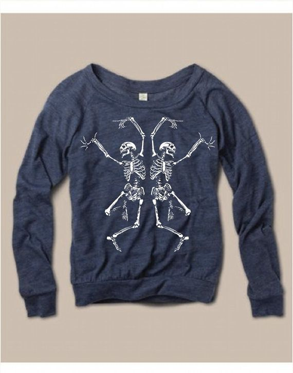 Womens Halloween Dancing SKELETON Screen Print Top Long Sleeve Pullover Optional Glow in Dark Alternative Apparel S M L XL more Colors Glow in the dark!! How awesome is this?!