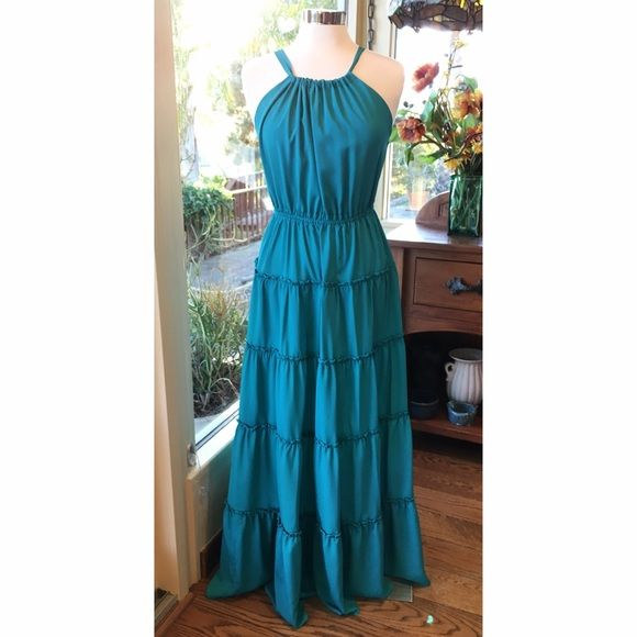 T-Bags Los Angeles Turquoise Maxi Dress Beautiful turquoise maxi dress by T-Bags Los Angeles. Adjustable top that ties in the back. 100% viscose. T-Bags Dresses Maxi