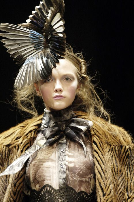 McQueen: Hats Contemporary, Alexander Mcqueen, Intricate Braids, Style, Costumes Inspiration, Fashion Costumes, Feathers Headdress, Feathers Hats, Mcqueen Couture
