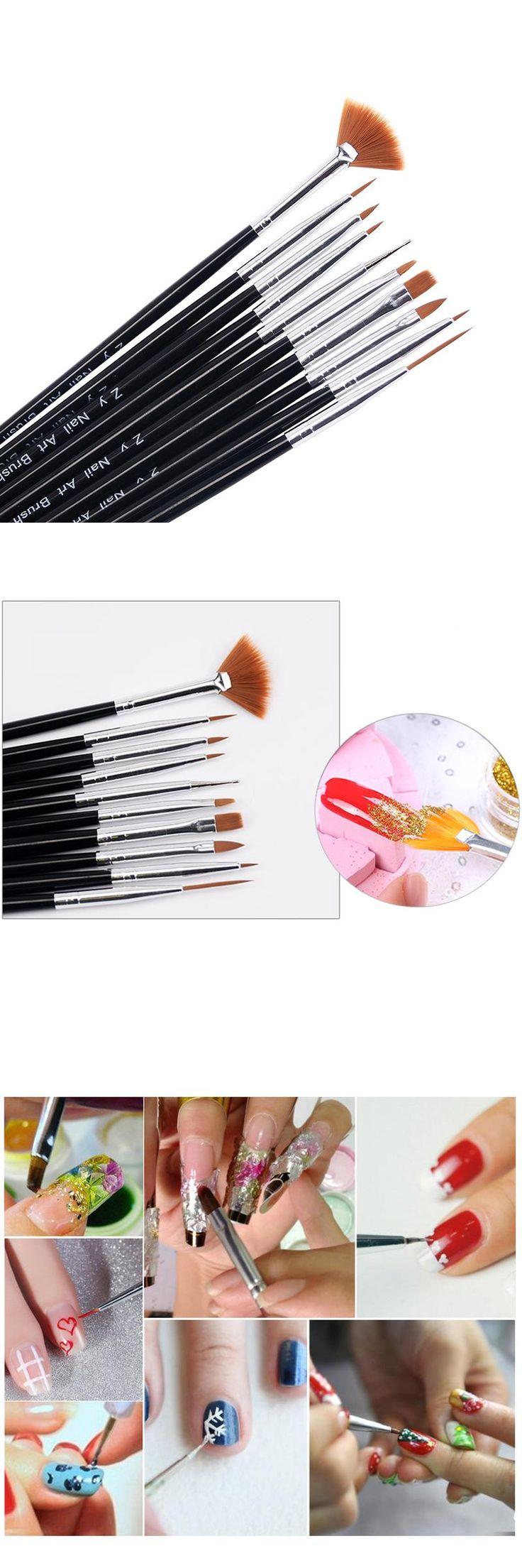 [Visit to Buy] 10pcs/pack Kolinsky Acrylic French Nail Art Liner Brushes Drawing Dotting Nail Brush Manicure Pen Styling Tools #Advertisement
