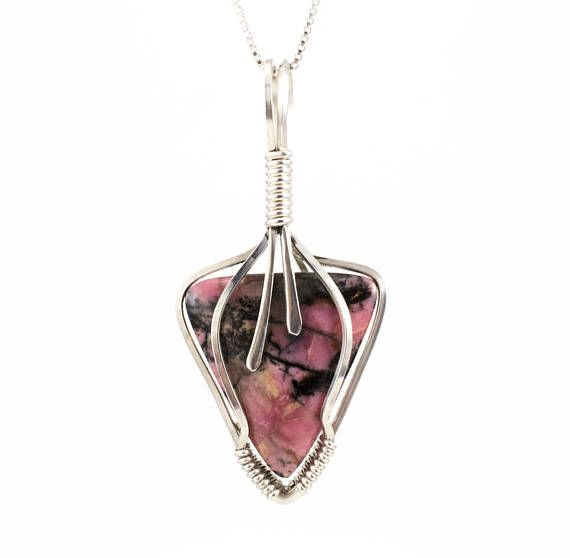 Pink Stone Pendant Pink Rhodonite Necklace Sterling Wire