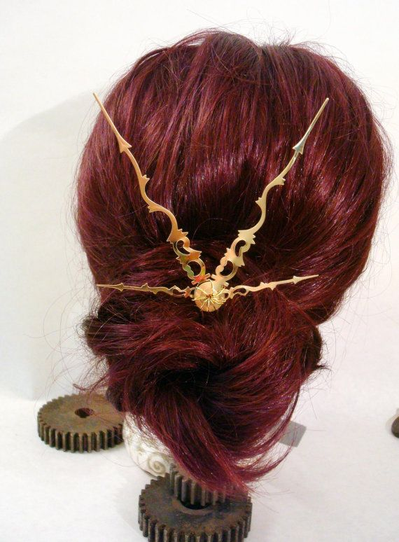 Steampunk Clock Hand Hair Stick by SteamIngenious on Etsy, $7.00