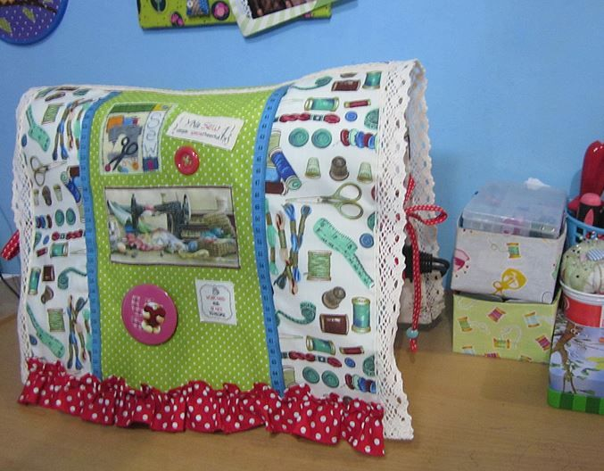 my sewing machine cover love to sew lace, applique and ruffle :)