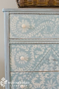 hand painted dresser Val: Love the simple almost Swedish naive way this is painted.