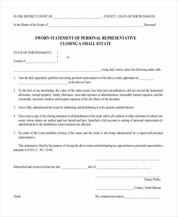 Free Sworn Statement Template In 2020 Statement Template
