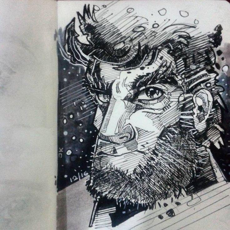character sketch, jishnu k on ArtStation at https://www.artstation.com/artwork/RBY2r