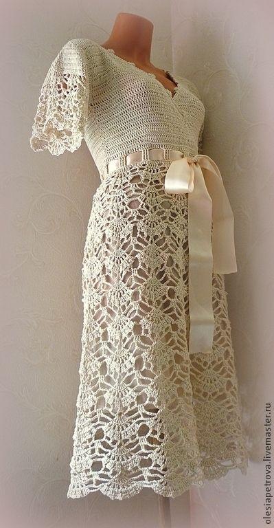 Платье Очарование - бежевый,Платье нарядное,платье летнее,платье вязаное