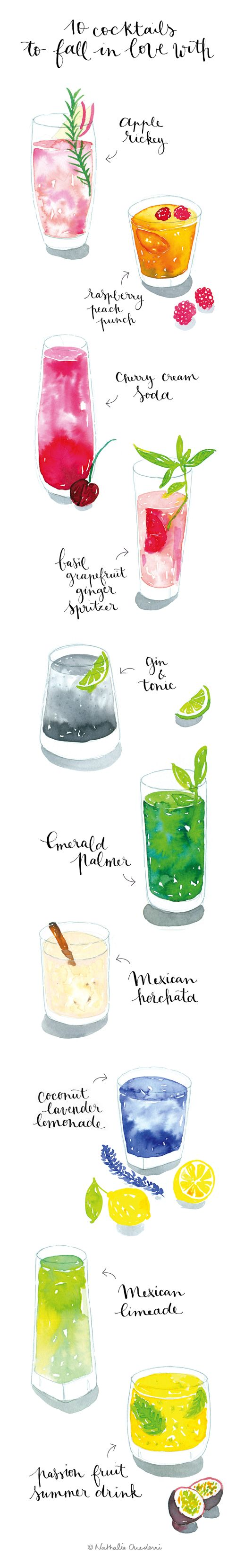 Food Illustration | watercolor cocktails by Nathalie Ouederni