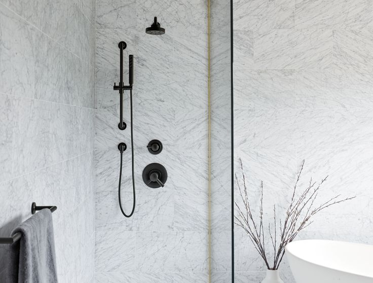 Actual Shower Fittings/Setup- Jason Wu For Brizo   And example of frameless glass shower screen with continuous wall tile