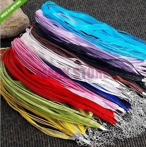 100pcs Organza Voile Ribbon Mixed Color Necklace Cords for Pendant With Lobster Clasp Necklace Lace Rope Free Shipping