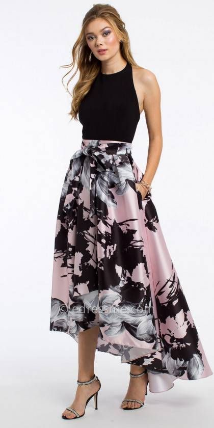 Halter Floral High Low Prom Dress By Camille La Vie High