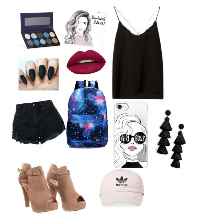 """""""Untitled #1"""" by maiatache ❤ liked on Polyvore featuring Huda Beauty, Massimo Dutti, Casetify, adidas, BaubleBar, Nobody Denim and Luxie"""