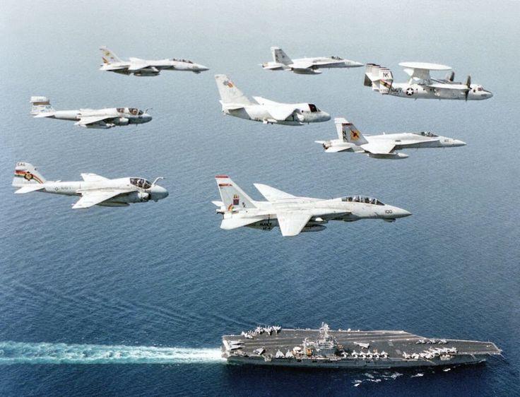 US Navy Grumman F-14A Tomcats, Grumman E-2C Hawkeyes, Grumman A-6 Intruder and EA-6B Prowler, Grumman S-3 Viking, and McDonnell-Douglas F/A-18 Hornets