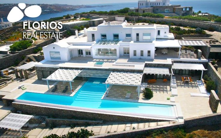 FL1214 Luxurious Villa for Sale on Mykonos island Greece. Spectacular view to Delos and the magnificent Mykonian sunset. In & outdoor pool. Privacy! Each room has access to its own private terrace.  http://www.florios.gr/en/Villas-For-Sale-Mykonos-Island-Greece.html