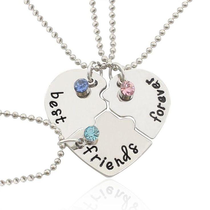 3Pcs/Set Letters Best Friends Forever Friendship Necklace Undertale 3 Colors Rhinestone BFF Friendship Necklaces & Pendants