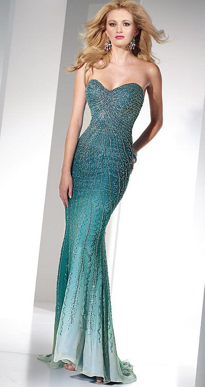 Alyce Paris Heavily Beaded Silk Ombre Prom Dress 6803 at frenchnovelty.com
