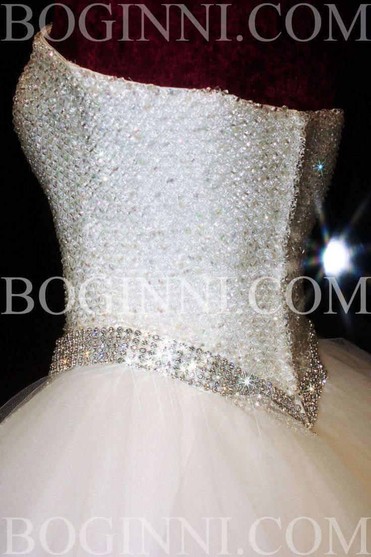 beaded wedding dresses   WHITE AB DIAMOND CRYSTAL BEADED BODICE MULLET WEDDING DRESS