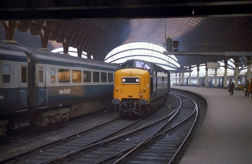 """York reverberates to the sound of Napier engines as 55022 """"Royal Scots Grey"""" brings the empty stock for a King's Cross working through the station in May 1980."""
