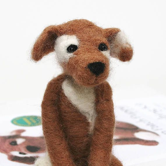 Puppy felting kit for beginners  needle felting kit  brown