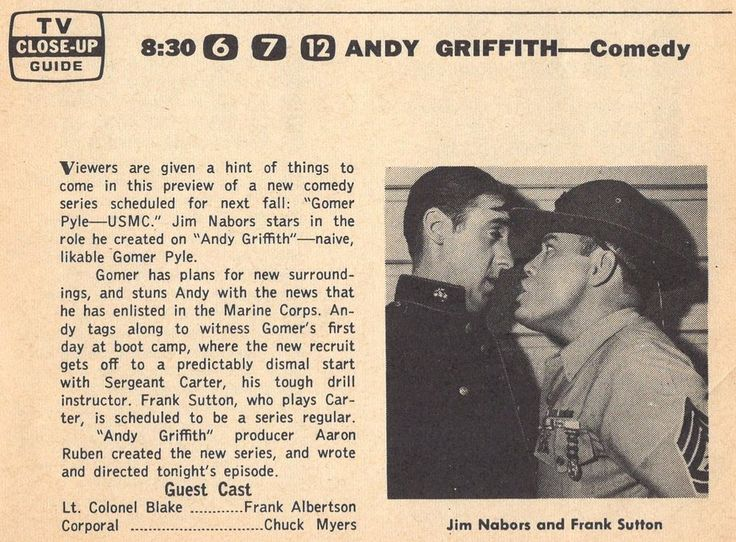 1964 TV AD~GOMER PYLE USMC PRE DEBUT~JIM NABORS~FRANK SUTTON~Andy Griffith Show