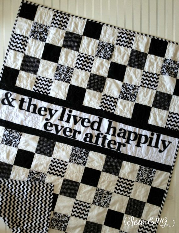 Black and White Wedding Quilt & They lived Happily Ever After  Ready to Ship As Is From SewEMG Home of the Original Personalized Signature Wedding Quilt ©