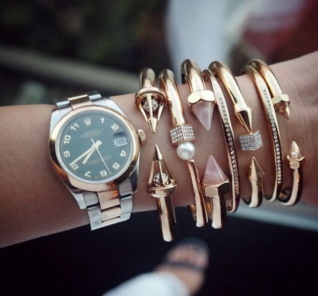 Women's Rolex arm candy, Layering is key. http://... | watchestry