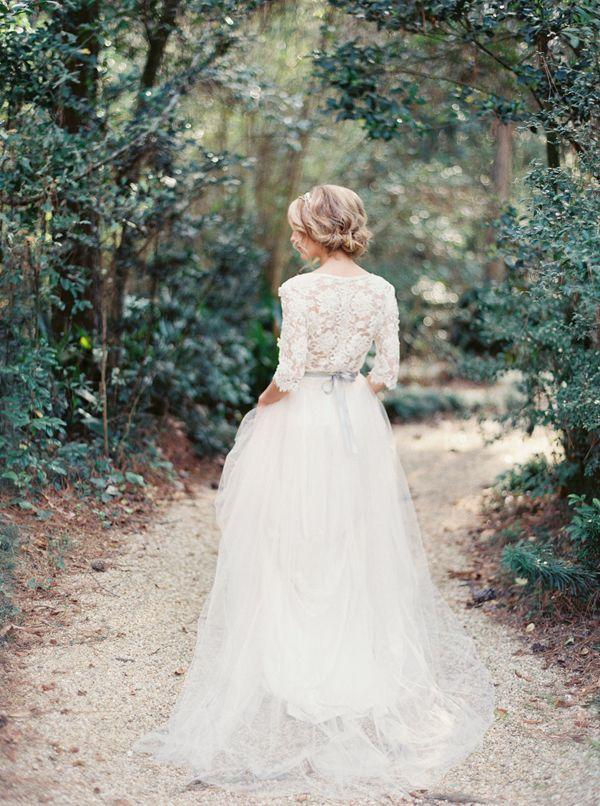 """I am absolutely elated that Amy from Chic Vintage Brides is sharing with us her re-imagined wedding on our """"Bloggers say I do!"""" series! An elegant woodland affair that is nothing short of lovely! Swooning over this #longsleeved #laceweddingdress ! http://www.love4wed.com/bloggers-say-i-do-amy-elsworth/"""