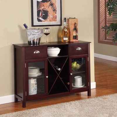 Kings Brand Wood Wine Rack Console Sideboard Table With Drawers And Storage Cherry Finish