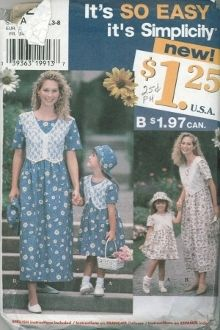 An original ca. 1997 Simplicity Pattern 0620.  Child's and Misses' dress and Hat.  Mother and Daughter matching set.
