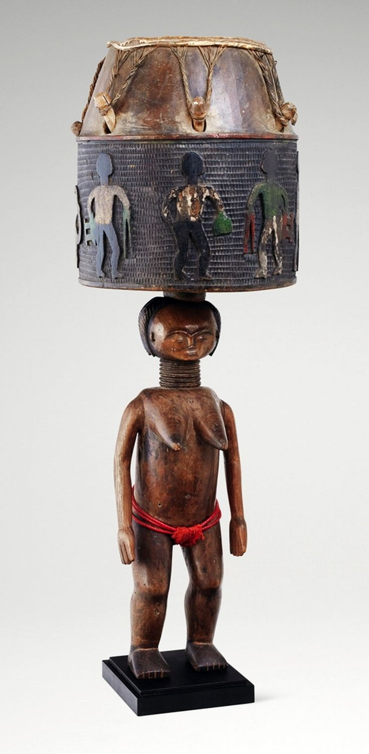 Africa | Drum from the Fanti people of Ghana | Wood, animal hide, pigment and glass beads