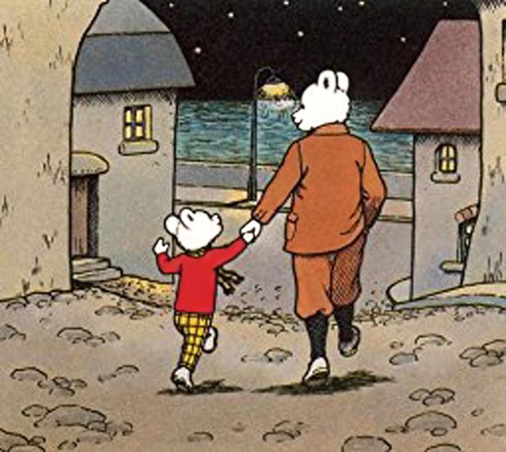 Rupert Bear and Dad on a night walk