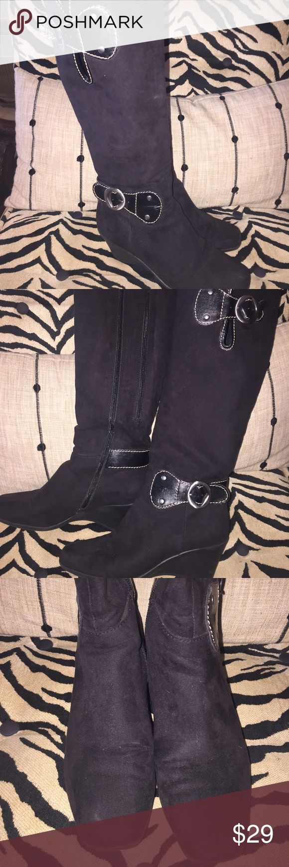 AEROSOLES AEROSOLES black suede wedge boots. Super comfy and stylish! Great condition!! AEROSOLES Shoes Winter & Rain Boots