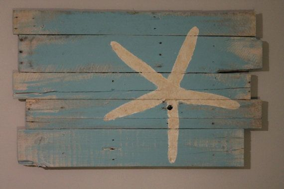 "Beach and Starfish Wall Hanging Reclaimed Wood Rt. Justified 35"" x 22"""