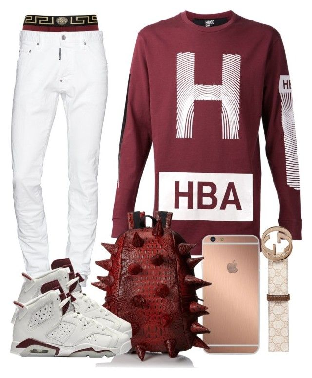"""SPLASH"" by ebkkeef ❤ liked on Polyvore featuring Versace, Dsquared2, Gucci, Mura, MadPax, NIKE, men's fashion and menswear"