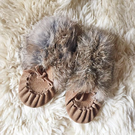 Handmade Baby Moccasin Fur Slippers // 12-8m