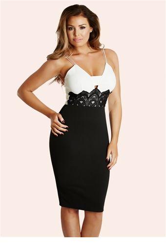 Jessica Wright Stephanie Monochrome Lace Trim Cami Dress