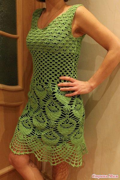 CARAMELO DE CROCHET: vestido verde