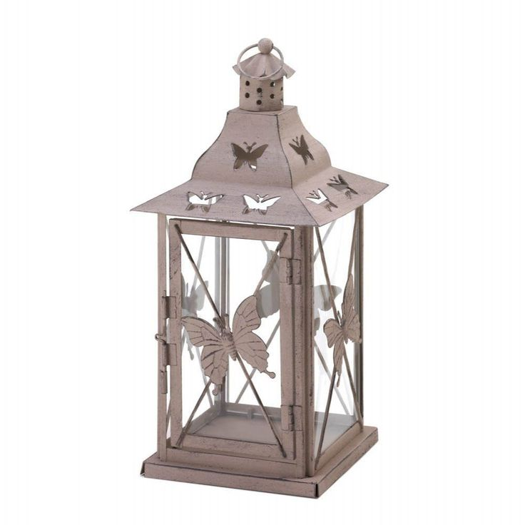rustic butterfly garden candle lantern