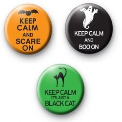 Set of 3 Halloween Keep Calm Badges  button badges chapas insignias 徽章  značke odznaky Propagandiloj märgid merkit emblemas სამკერდე Abzeichen κονκάρδες תגים  बैज jelvények einkennismerki lencana suaitheantais distintivi バッジ 배지 nozīmītes ženkleliai значки emblemer odznaczenia emblemas значки märken rozetleri phù hiệu