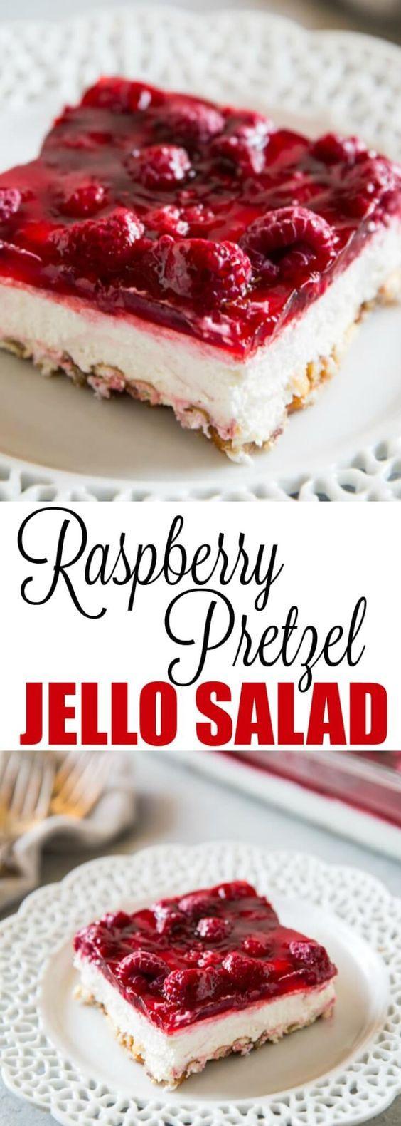 A Midwest classic, Raspberry Pretzel Jello Salad h…