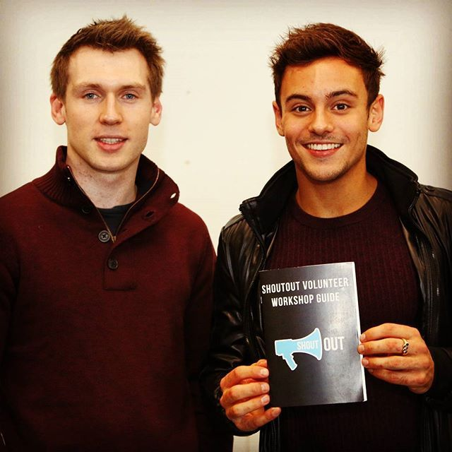 ShoutOut co-founder Eoin O'Liathain with Olympic diver Tom Daley! - Tom Daley endorses ShoutOut and we hope you do too! We work in secondary schools around Ireland giving workshops to stop homophobic & transphobic bullying in schools. - #lgbt #lgbtq #lgbt🌈 #lgbtpride #ireland #tomdaley #diving #olympics #comingout #gaypride #lgbtcommunity #queer #lgbtplus #lgbtpage #gayrights #activist #olympics #equality #lgbtyouth #queeryouth #itgetsbetter #stopbullying #wedeservebetter @trevorproject