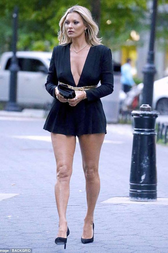17d68bdc033 Kate Moss sequin V-neck belted playsuit Saint Laurent Show June 6 ...