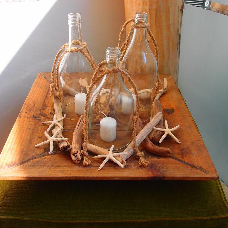 Δίσκος για τραπέζια δεξίωσης γάμων..από μπουκάλια με κομμένο πάτο θαλασσοξυλα και αστερίες.τα μπουκάλια πωλούνται και μεμονωμένα ιδανικά για καφετέριες, Δεξίωση | Στολισμός Γάμου | Στολισμός Εκκλησίας | Διακόσμηση Βάπτισης | Στολισμός Βάπτισης | Γάμος σε Νησί - στην Παραλία.