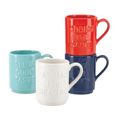 Kate Spade New York® Pretty Pantry Words Stacking Mugs, Set of 4 - A set of mugs with fun mottos on them! Adds a great splash of colour to the dorm, plus who can go wrong with cake for breakfast? #dorm #student